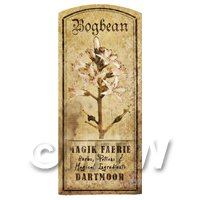 Dolls House Herbalist/Apothecary Bogbean Herb Short Sepia Label