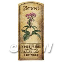Dolls House Herbalist/Apothecary Boneset Herb Short Colour Label