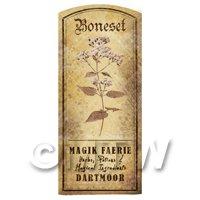 Dolls House Herbalist/Apothecary Boneset Herb Short Sepia Label