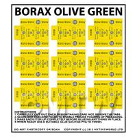 Dolls House Miniature Sheet of 9 Borax Olive Green Soap Boxes