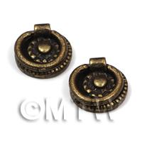 2x DHM Round Antique Brass Drawer Handles