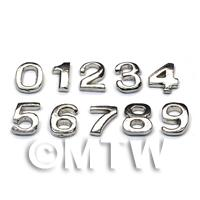Dolls House Miniature Chrome Numbers 0-9
