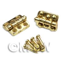 2x DHM Brass 6 hole Hinges With 12 screws