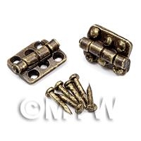 2x DHM Antique Brass 6 hole Hinges With 12 screws