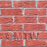 Dolls House Miniature Dark Red Textured Brick Pattern Cladding