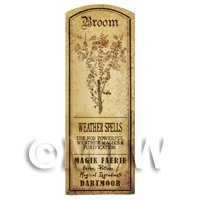 Dolls House Herbalist/Apothecary Broom Plant Herb Long Sepia Label