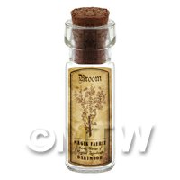 Dolls House Apothecary Broom Herb Short Sepia Label And Bottle