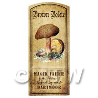 Dolls House Miniature Apothecary Brown Bolete Fungi Colour Label