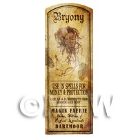 Dolls House Herbalist/Apothecary Bryony Plant Herb Long Sepia Label
