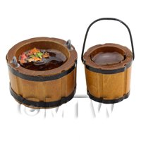 Dolls House Miniature Large And Small Wooden Bucket Filled With Water