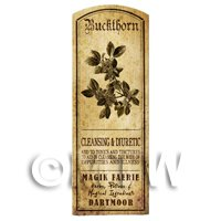 Dolls House Herbalist/Apothecary Buckthorn Herb Long Sepia Label