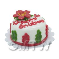 Dolls House Miniature Christmas Cake With Poinsettia