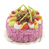 Dolls House Miniature Cherry Apple Sponge Cake