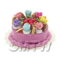 Dolls House Miniature Multi Colored Rose Cake