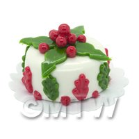 Dolls House Miniature Christmas Cake With Holly Leaf Decoration