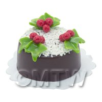 Dolls House Miniature Christmas Cake With Coconut and Holly Decoration