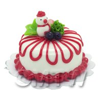 Dolls House Miniature Christmas Cake With Snowman and Fruit Decoration