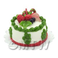 Dolls House Miniature Christmas Cake With Candy Cane and Fruit