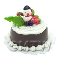 Dolls House Miniature Christmas Cake With Snowman Candy Cane and Fruit