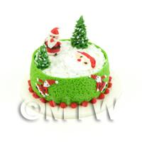 Dolls House Miniature Father Christmas Themed Cake