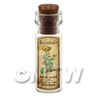 Dolls House Apothecary Calendula Herb Short Colour Label And Bottle