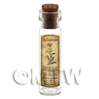 Dolls House Apothecary Calendula Herb Long Sepia Label And Bottle