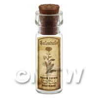 Dolls House Apothecary Calendula Herb Short Sepia Label And Bottle