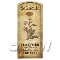 Dolls House Herbalist/Apothecary Calendula Herb Short Sepia Label
