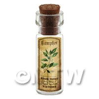 Dolls House Apothecary Camphor Herb Short Colour Label And Bottle