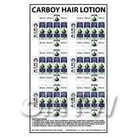 Dolls House Miniature sheet of 6 Carboy Hair Lotion
