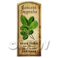 Dolls House Herbalist/Apothecary Cascara Segrada Herb Short Colour Label