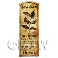 Dolls House Herbalist/Apothecary Cats Claw Plant Herb Long Sepia Label