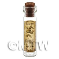 Dolls House Apothecary Cayenne Herb Long Sepia Label And Bottle