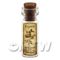 Dolls House Apothecary Cayenne Herb Short Sepia Label And Bottle