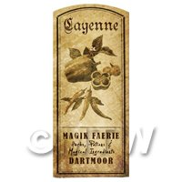 Dolls House Herbalist/Apothecary Cayenne Herb Short Sepia Label