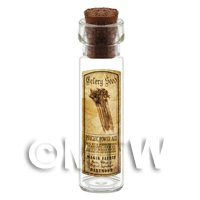 Dolls House Apothecary Celery Seed Herb Long Sepia Label And Bottle