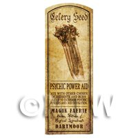 Dolls House Herbalist/Apothecary Celery Seed Herb Long Sepia Label