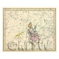 Dolls House Miniature 1800s Star Map With Auriga And Lnnx