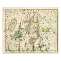 Dolls House Miniature 1800s Star Map With Hercules And Lyra
