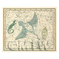 Dolls House Miniature 1800s Star Map With Cynus, Lyra And Lacerta