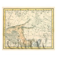 Dolls House Miniature 1800s Star Map With Pegasus And Equuleus