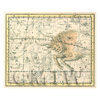 Dolls House Miniature 1800s Star Map With Taurus And Orion