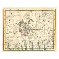 Dolls House Miniature 1800s Star Map With Gemini