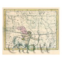 Dolls House Miniature 1800s Star Map With Sagittaries