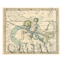 Dolls House Miniature 1800s Star Map With Aquarius And Capricorn