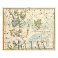 Dolls House Miniature 1800s Star Map With Orion, Lepus And Septrum