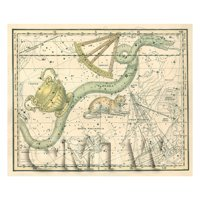 Dolls House Miniature 1800s Star Map With Hydra, Crater And Sextans
