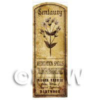 Dolls House Herbalist/Apothecary Centaury Herb Long Sepia Label