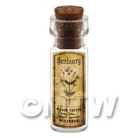 Dolls House Apothecary Centuary Herb Short Sepia Label And Bottle