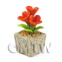 Miniature Handmade Dark Orange Coloured Ceramic Flower (CFDO12)